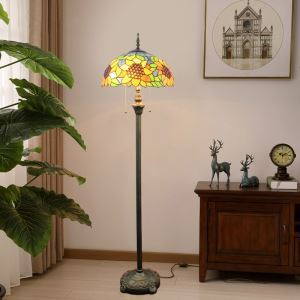 Tiffany Floor Lamp Handmade Glass Shade Sunflower Standard Lamp