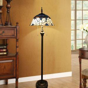 Tiffany Floor Lamp Handmade Stained Glass Shade Flower Standard Lamp