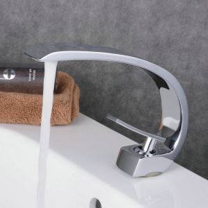 Contemporary Sink Faucet Chrome Polished Sink Faucet Single Handle Arch Tap BL9006