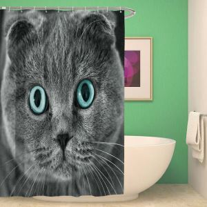 Waterproof Mouldproof Shower Curtain 3D Lifelike Lovely Cat Printed Bath Curtain