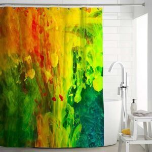 Creative Shower Curtain Contrast Colorful Oil Painting Bath Curtain