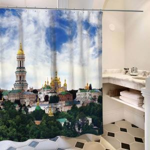Waterproof Mouldproof Shower Curtain Nordic Architectural Landscape 3D Digital Printed Bath Curtain