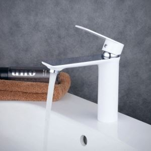 Contemporary Sink Faucet Stoving Varnish White Sink Faucet Single Handle Faucet BL6378WC