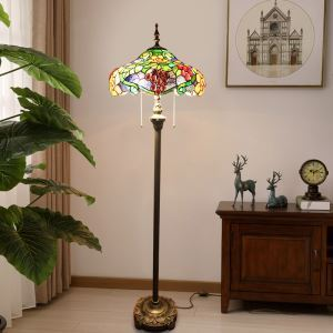 Tiffany Floor Lamp Handmade Stained Glass Shade Standard Lamp Grapes Design