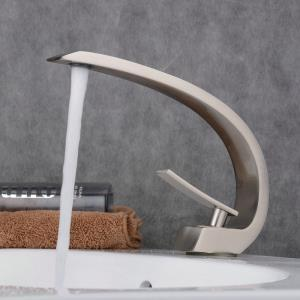 Contemporary Sink Faucet Nickel Brushed Sink Faucet Single Handle Arc Faucet BL9006N