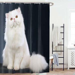 Waterproof Mouldproof Shower Curtain Lovely Kitten 3D Digital Printed Bath Curtain