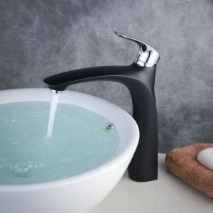 Contemporary Sink Faucet Stoving Varnish Black Sink Faucet with Single Chrome Polished Handle BL6628BCH