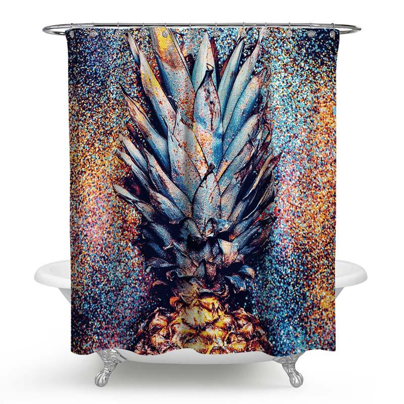 Waterproof Mouldproof Shower Curtain Creative Weird Pineapple Printed Bath