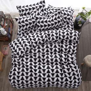 Modern Simple Bedding Set Triangle Design Bedclothes Soft 4pcs Duvet Cover Sets