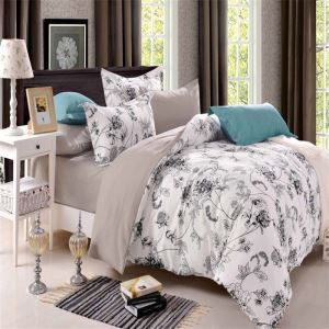 Retro Simple Bedding Set Ink Flower Printing Pattern Bedclothes Soft 4pcs Duvet Cover Sets
