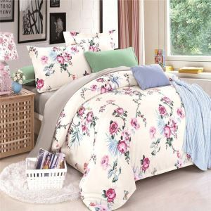 Retro Rural Bedding Set Peony Printing Pattern Bedclothes Breathable 4pcs Duvet Cover Sets