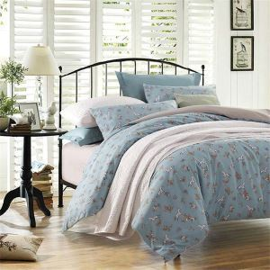 Rural Fresh Bedding Set Blue Pony Bedclothes 4pcs Duvet Cover Sets for Little Boys
