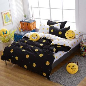 Modern Cartoon Bedding Set Anti Dust Mites Bedclothes with Funny Emoticon Pattern