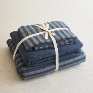 Nordic Style Bedding Set Navy Blue Stripes Bedclothes Anti Dust Mites Cutton 4pcs Duvet Cover Sets