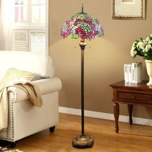 Pull Chain Floor Lamp with Stained Glass Shade Red Flowers and Green Leave