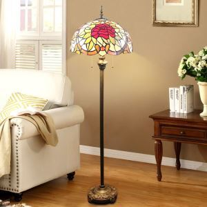 Tiffany Floor Lamp Hand with Handmade Stained Glass Shade Flower and Leaf