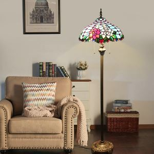 Pull Chain Floor Lamp with Stained Glass Shade Roses