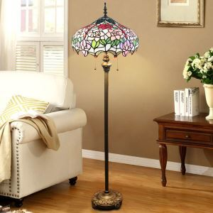 Tiffany Floor Lamp Hand with Handmade Stained Glass Shade Roses