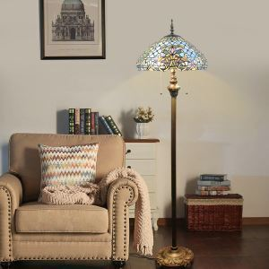 Pull Chain Floor Lamp with Stained Glass Shade Blue