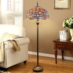 Pull Chain Floor Lamp with Stained Glass Shade Dragonfly
