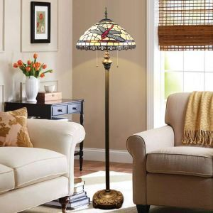 Floor Lamp with Double Pull Chain Tiffany Style Shade Dragonfly
