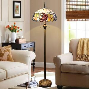 Stained Glass Floor Lamp Grapes Tiffany Shade Standard Lamp with Pull Chain Switch