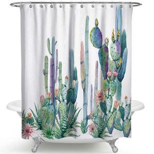 Rural Style Shower Curtain Cactus Printed Bath Curtain