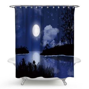 Waterproof Mouldproof Shower Curtain Aesthetical 3D Moon Night Printed Bath Curtain