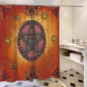 Waterproof Mouldproof Shower Curtain Retro Style Shower Curtain Demon Eye Printed Fabric