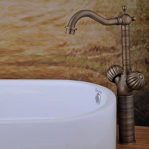 Antique Brass Finish Bathroom Sink Faucet (Tall)