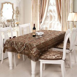 Luxurious Modern Tablecloth Brown European Flower Jacquard Table Runner Chenille Tablecloth Table Runner
