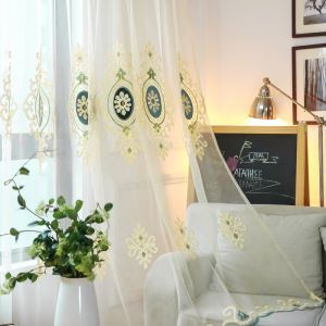 Nordic Simple Sheer Curtain European Flower Embroidery Sheer Curtain(One Panel)