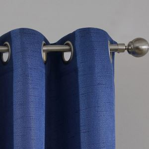 Modern Simple Curtain Solid Blue Curtain Flax Blackout Fabric(One Panel)