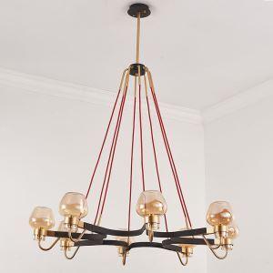 Modern Vintage Chandelier Roadblock Shape Chandelier 1 Tier 8-lights Bedroom Living Room Lighting with Red Wire