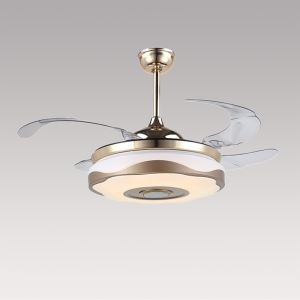 Modern Fan Ceiling Light Mute Fan Light Exquisite White and Gold Shade Decoration Light with Remote Control