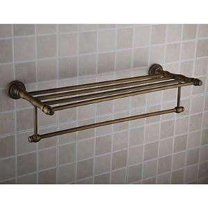 Antique Brass Ti-PVD Finish Wall-mounted Bathroom Shelf With Towel Bar