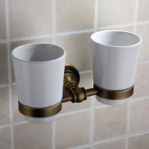 Antique Brass Ti-PVD Finish Wall-mounted Double Toothbrush Holder