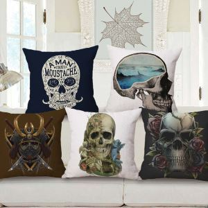 Crative Halloween Pillow Cover Skull Printing Flax Pillow Case