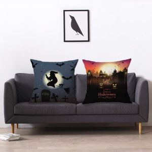 Halloween Theme Pillow Cover Breathable Flax Pillow Case