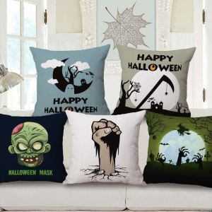 Halloween Cemetery Flax Pillow Cover Personalized Horrible Pillow Case