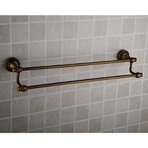 Antique Brass Wall-mounted Double Towel Bar