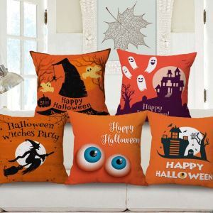Personalized Odd Pillow Cover Halloween Theme Flax Pillow Case
