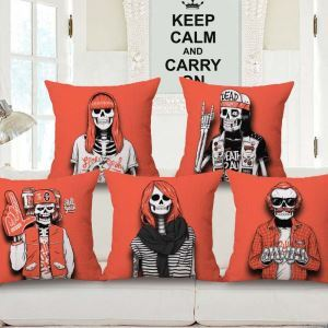 Creative Popular Pillow Cover Personalized Skull Flax Pillow Case