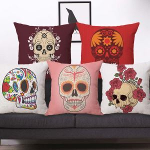 Personalized Skull Pillow Cover Creaetive Popular Pattern Flax Pillow Case