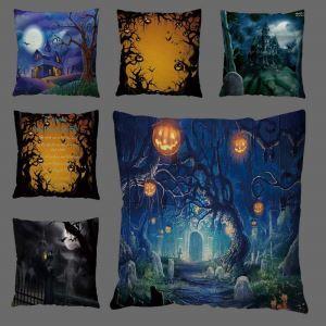 Horrible Night Scene Pillow Cover Halloween Theme Breathable Pillow Case
