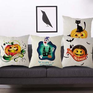 Personalized Odd Pillow Cover Halloween Pumpkin Flax Pillow Case