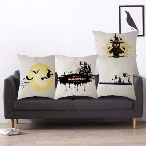 Personalized Simple Pillow Cover Halloween Theme Flax Pillow Case
