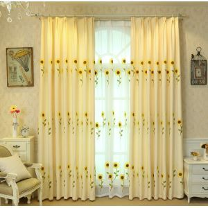 Modern Simple Sheer Curtain Embroidery Sheer Curtain Sunflowers Pattern Fabric