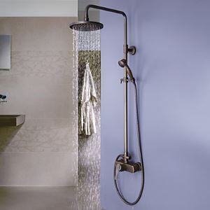 (In Stock)Antique Brass Tub Shower Faucet with 8 inch Shower Head + Hand Shower