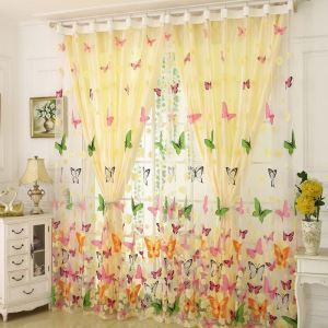 Rural Romantic Sheer Curtain Colorful Butterflies Printing Sheer Curtain Environmental Protected Breathable Fabric